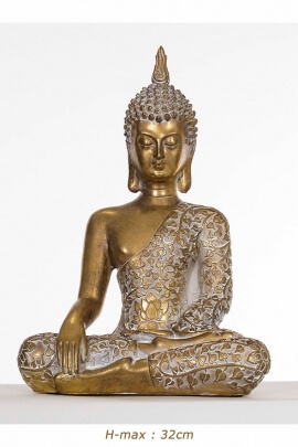 Statue of Buddha seated in the position of awakening, original design and bright for the house