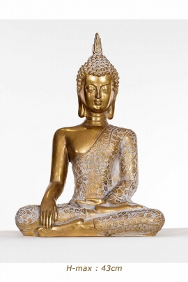 Statue of Buddha seated in the position of enlightenment and zen, in resin, golden