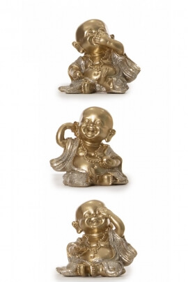 Statues of 3 little buddhist monks for the decoration, resin golden