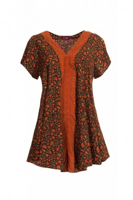 Tunic sari original, style, Benares, V-neck, small flower patterns colorful