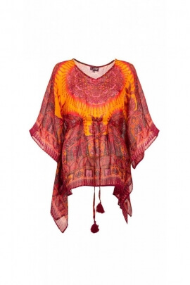 Tunic indian hippie, lace under neckline, colorful pattern and original