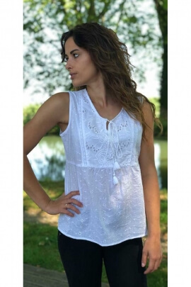 Tank top ethnic embroidered white, bohemian-style and country-style