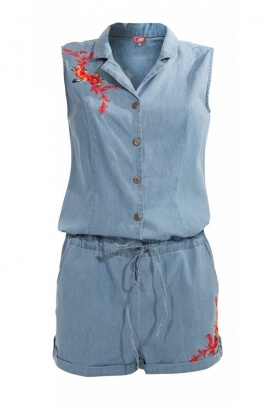 Combi short modern jean with embroidery flowers colored