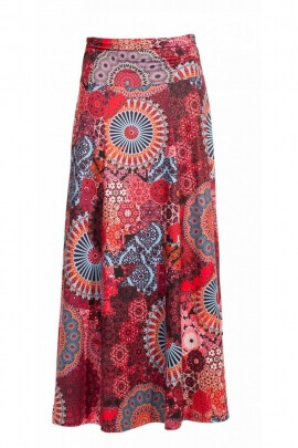 Skirt bohemian extra long, printed, hypnotic original and colorful