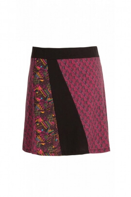 Skirt original short jersey cotton, patchwork, colorful, style, hippie chic