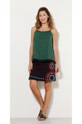 Jupe originale courte en jersey de coton, motifs ethniques colorés, style hippie chic