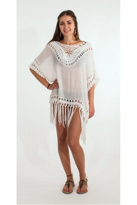 Poncho beach style, hippie chic, with fringes and crochet original