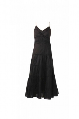 Black long dress cotton kingdom, shoulder straps and embroidery-original