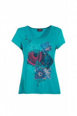 Tee-shirt original short sleeve, pretty patches trend and colorful