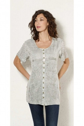 Blouse bohemian embroidered mid-length, blouse stone wash for the spring