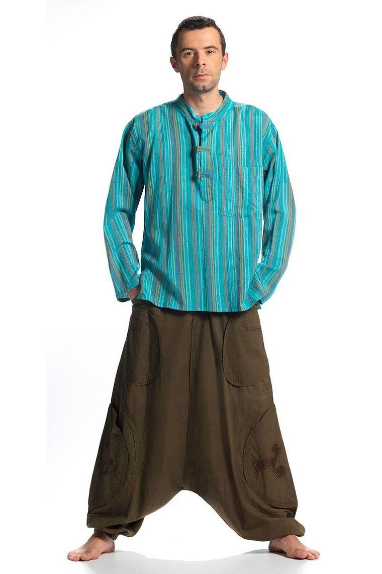 Chemise homme kurta coton Népal rayée boutons coco