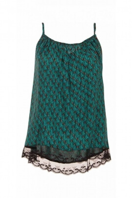 Lightweight Top with straps and lace top ethnic print dakar colorful