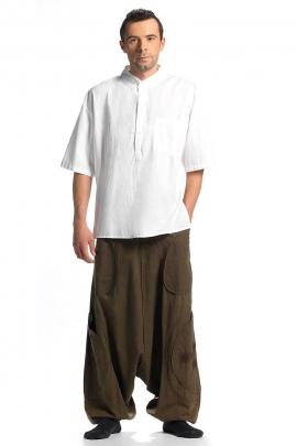Chemise Népal coton uni manches courtes homme