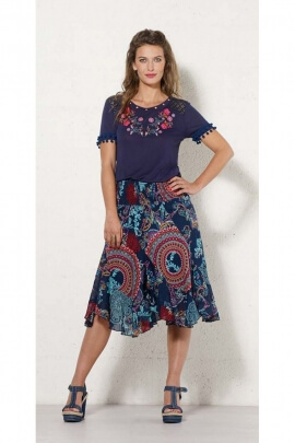 Skirt twist mid-long original cotton voile lined, patterned ethnic colorful