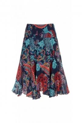Jupe twist mi-longue originale en voile de coton doublée, motifs ethniques colorés