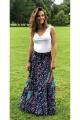 Long skirt bohemian original, sails printed and steering wheel