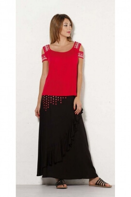 Long skirt urban chic for summer, embroidery graphics, colorful