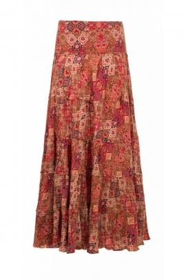 Jupe sari longue colorée, style bohème et décontracté, à panneaux patch
