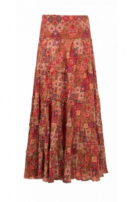 Skirt sari long, colorful, bohemian-style, and casual, panels, patch