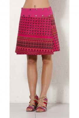 Jupe réversible ajustable et originale, avec des rivets, motifs colorés