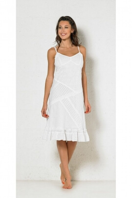 White dress in cotton, patchwork and embroidery-original