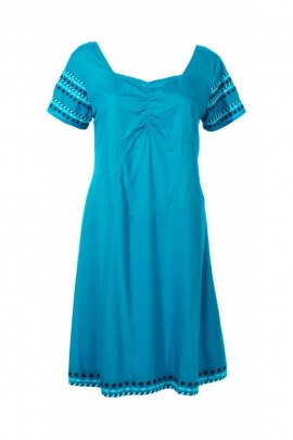 Summer dress, original and colourful viscose, small sleeves and embroidery