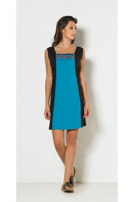 Summer dress original modal finely embroidered design two-tone