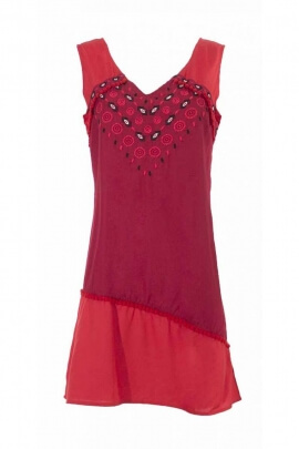 Summer dress ethnic sleeveless modal finely embroidered and colorful
