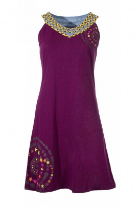 Short dress summer solid, enhanced by braids in jersey, patterns, star stained