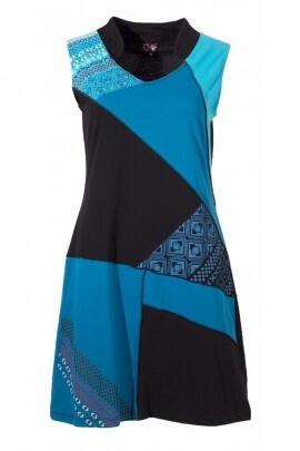 Short dress sleeveless casual fabrics assembled in patch