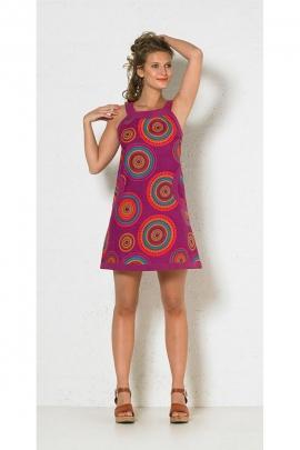 Short dress ethnic sleeveless, cotton, printed, mandala colorful