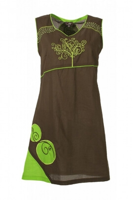 Dress original short sleeveless, embroidered dress with patch colorful