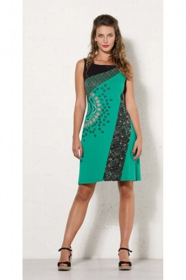 Dress original short and casual, patches, assembled and shoulder straps