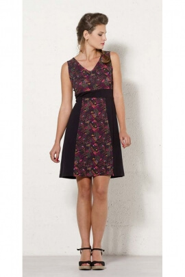 Short dress original mesh, dress casual with panel and patch