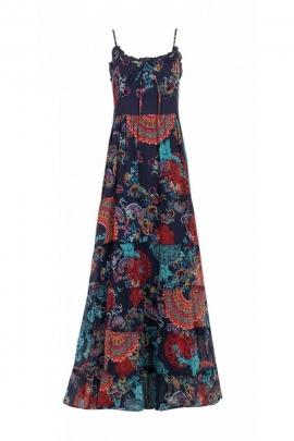 Long dress bohemian colourful, romantic look, thin straps