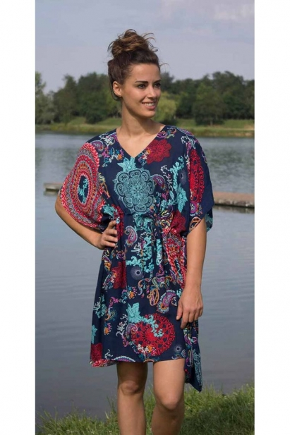 Tunic dress wide and loose-fitting, pattern, ethnic, original, lace up, under bust