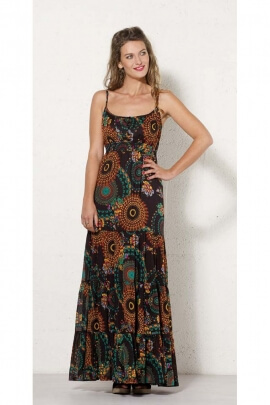 Long dress bohemian printing flowers and mandalas coloured, elasticated waistband