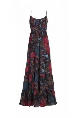 Long dress bohemian, look flowery colorful, printed bombay original