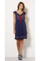 Short dress hippie chic knit of viscose, very on trend, with flower patterns