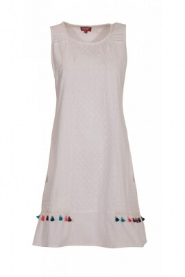 Short white dress in cotton, sleeveless, with pom-poms colored