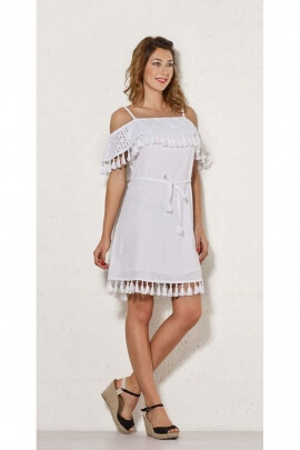 Short white dress bohemian, v-neck bardot, cotton, with laces and pom-poms
