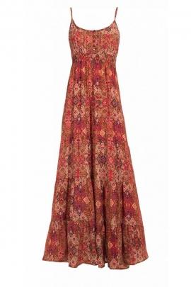 Robe bohème longue, tissu sari coloré et original, fines bretelles