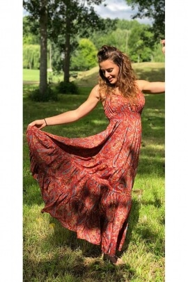 Dress bohemian long fabric colorful sari and original, thin straps