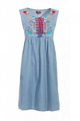 Dress jean with embroidered flowers, cotton, without handle and pom-poms