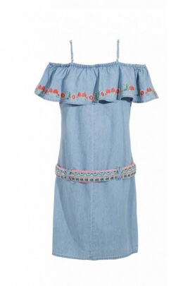 Dress jean cotton embroidered, neck bardot original waistband and colorful twine