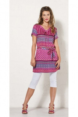 Tunic dress with ethnic motives, dress casual with a little ribbon to tie