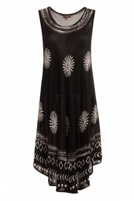 Dress ethnic special heat wave, in crepe viscose, black and white printed
