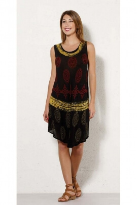 Short dress ethnic special heat wave, in crepe viscose, printed, colorful african