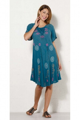 Short dress ethnic for the heat wave, in crepe viscose, floral print and lace-up