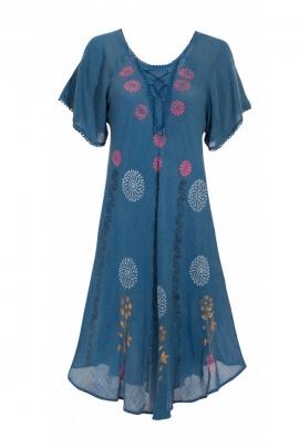 Robe courte ethnique pour la canicule, en crêpe de viscose, imprimé fleuri et lacets